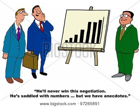 Business cartoon showing Asian businessman and his chart with increasing sales.  Two other businessmen are whispering, 'He'll never win this negotiation.  He's saddled with numbers... but we have anecdotes'. stock photo