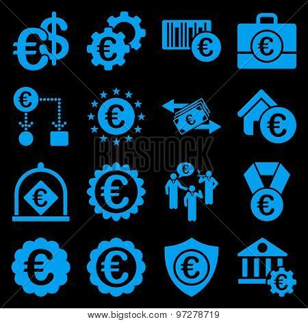 Euro banking business and service tools icons. These flat icons use blue. Images are isolated on a black background. Angles are rounded. stock photo