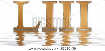 Roman numeral LIII tres et quinquaginta 53 fifty three reflected on the water surface isolated on white 3d render stock photo