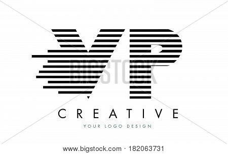 VP V P Zebra Letter Logo Design with Black and White Stripes Vector stock photo