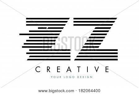 ZZ Z Zebra Letter Logo Design with Black and White Stripes Vector stock photo