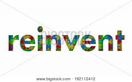 Reinvent Puzzle Pieces Word Redo Restart Innovate 3d Illustration stock photo