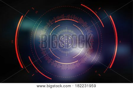 Sci-fi futuristic crosshair. HUD user interface. Technology background. Spaceship hightech target screen concept. Vector illustration stock photo