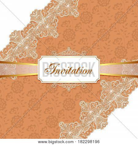Elegant vintage wedding or birthday invitation template with lace corners. Vector Illustration