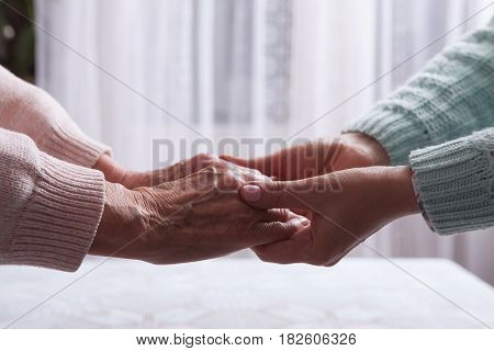 Care is at home of elderly. Senior woman with their caregiver at home. Concept of health care for elderly old people, disabled. Elderly woman holding hands closeup. Space for text white background. stock photo