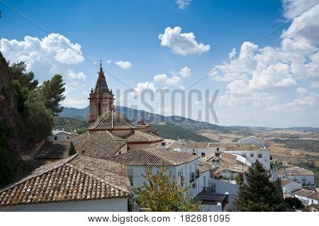 Views of Zahara de la Sierra Spain. This village is part of the pueblos blancos -white towns- in southern Spain, Andalusia region