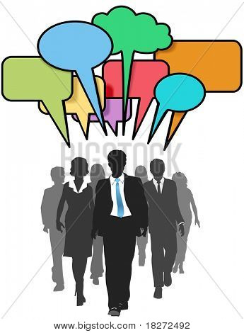 Social media business people walk and talk in color speech bubbles stock photo