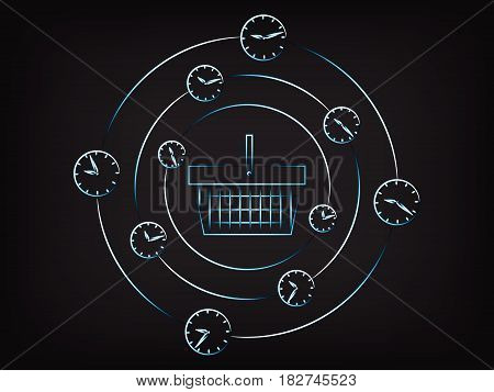 shopping basket surrounded by spinning clocks and alarms concept of limited time promotions (vector illustration on mesh background) stock photo