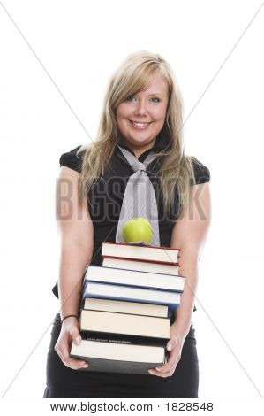 Student with books. homework isolated learning library stock photo