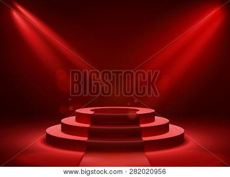 Stage Podium Lighting. Award Ceremony Victory Pedestal Champion, Show Victory, Event Celebration Win
