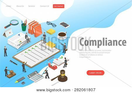 Flat isometric vector landing page template of regulatory compliance. stock photo