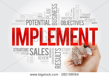 Implement word cloud with marker, business concept background stock photo