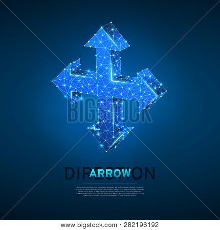 Arrow cross, extend, resize, cross arrow sign. Four-way arrow wireframe digital 3d illustration. Low poly crossway choice concept with lines, dots on blue background. Vector neon polygonal road guide stock photo