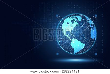 Futuristic blue earth abstract technology background. Artificial intelligence digital transformation and big data concept. Business quantum internet network communication concept. Vector illustration stock photo