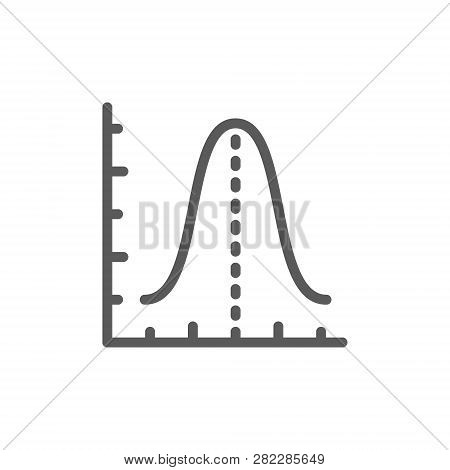 Gauss histogram function graph, parabola line icon. stock photo