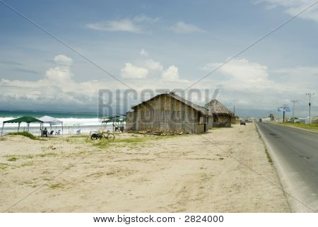 thatched roof restaurants along the ruta del sol pacific coast ecuador south america stock photo