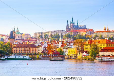 Colorful view of Castle District (Hradcany) in Prague, Czech Republic stock photo