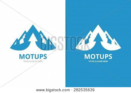 Mountain and arrow up logo combination. Unique hill and upload logotype design template. stock photo