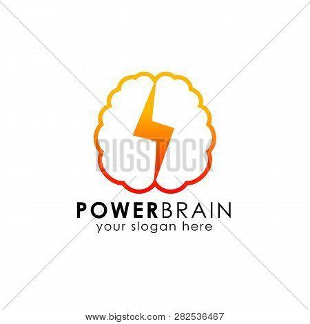 power brain logo design template. thunder brain logo design vector icon stock photo