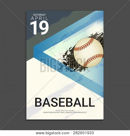 Flyer & Poster Cover Design Template For Baseball Tournament Or Championship, Editable Graphic Eleme
