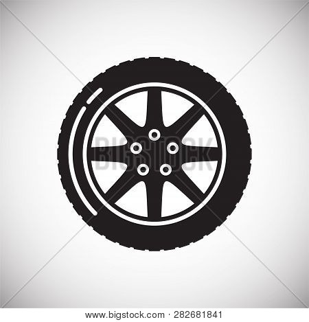 Car wheel icon on white background for graphic and web design, Modern simple vector sign. Internet concept. Trendy symbol for website design web button or mobile app stock photo