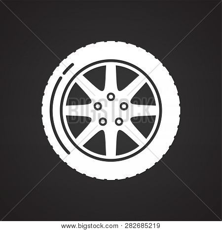 Car wheel icon on black background for graphic and web design, Modern simple vector sign. Internet concept. Trendy symbol for website design web button or mobile app stock photo
