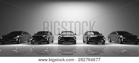 Fleet of black cars on light background. Brandless sedan vehicle, transportation. 3D illustration. stock photo