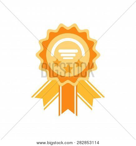 Golden reward with stars and ribbons. Medal prize icon with modern concept and simple logo shape in flat style. Circle medallion with lines vector stock photo