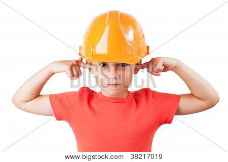 Little girl in a protective helmet tucked her ears stock photo
