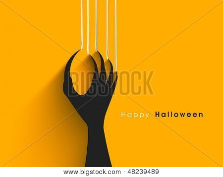 Halloween idea with scratching blemishes on yellow divider from zombie nails.