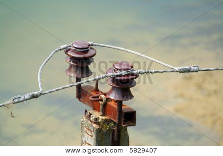 Electroinsulator for a network of a high pressure of city communications stock photo