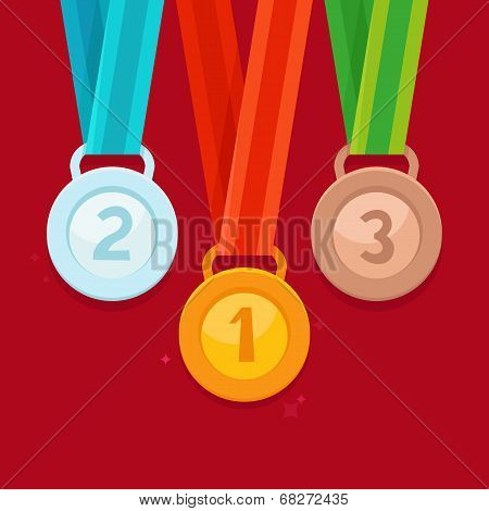 Vector three winning places concept - golden silver and bronze medals in flat style stock photo