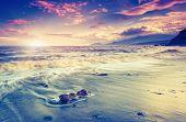 Amazing morning sun over the ocean with cloudy sky. Dark Sea, Crimea, Ukraine, Europe. Magnificence