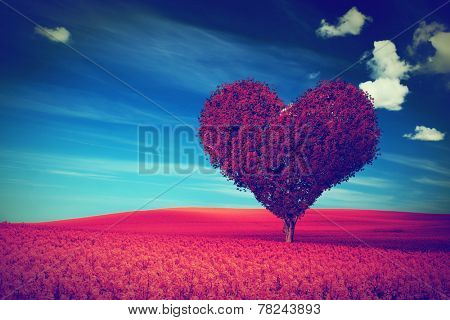 Heart shape tree with red leaves on red flower field. Love symbol, concept for Valentine's Day, wedd