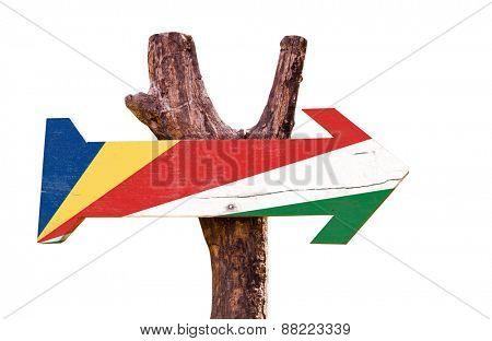 Seychelles Flag wooden sign isolated on white background stock photo