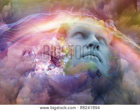 Dream Wave series. Design composed of human face and colorful fractal clouds as a metaphor on the subject of dreams mind spirituality imagination and inner world stock photo