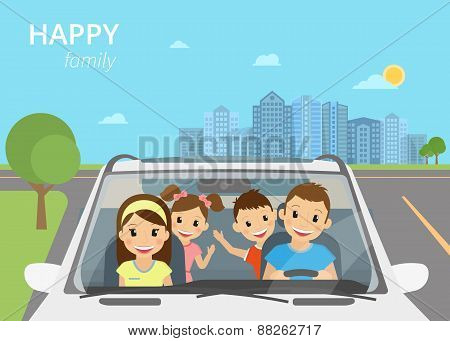 Happy family with children travelling by car stock photo