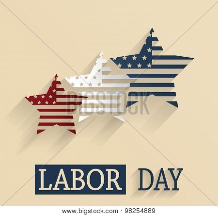 Happy Labor Day. Red, white and blue stars