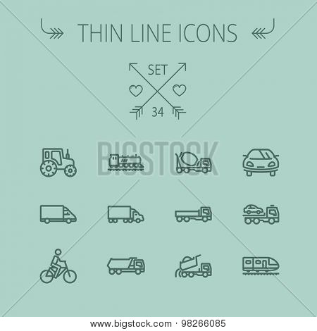 Transportation thin line icon set for web and mobile. Set includes- sports car, trucks, vans, bicycl