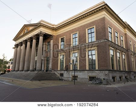 neo classical old courthouse in leeuwarden capital of the dutch province of Friesland in warm morning light stock photo