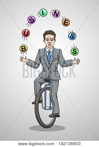 To ride a unicycle and juggle balls, it is to do business. stock photo