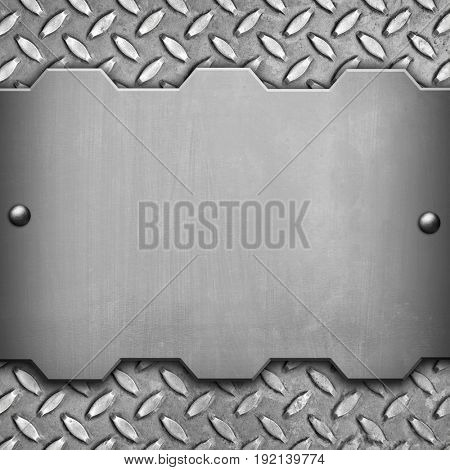 metal template with diamond plate background stock photo