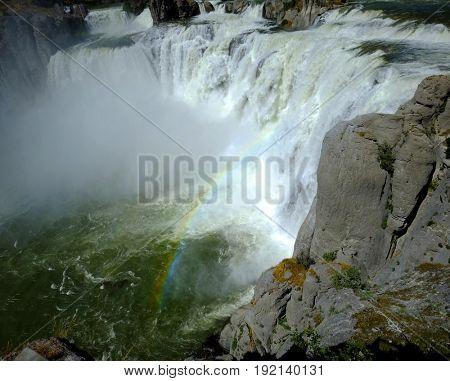 Large powerful waterfall water fall Shoshone Falls beauty amazing epic stock photo