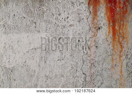 Rusty gray concrete wall with red blood drops small holes and crack. Illustration background for criminal news and chronicles. stock photo