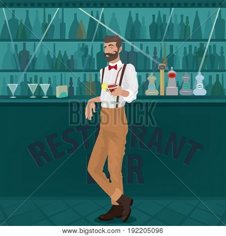 Cheerful and mustachioed bartender hipster with suspenders and red bow tie leans on a bar counter and offers a ready cocktail to the viewer. Welcome drink compliment stock photo