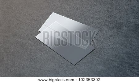 Blank plastic transparent business card mock up 3d rendering. Clear pvc namecard mockup on textured surface. Empty acrylic horizontal customer pasteboard template for your logo presentation. stock photo
