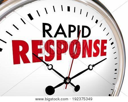 Rapid Response Clock Quick Fast Reaction 3d Illustration stock photo