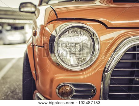 Headlight of vintage car Retro style process is vintage style