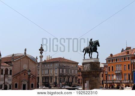 July 29 2016 Padua Northern Italy. The Pontifical Basilica of Saint Anthony of Padua and Equestrian Statue of Gattamelata. Popular touristic european destination. Padua city view stock photo