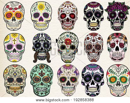 Trendy sugar skulls set with skulls in different styles